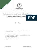 Evaluation of Rockfall Hazard to Qiryat Shemona - Possible Correlation to Earthquakes