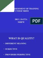 Quality Training Dr Utsuk Datta