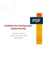 Guidelines for Training under Family Planning at  NIHFW 14th July 11