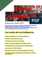 Noticias Uruguayas domingo 20 de Noviembre de 2011