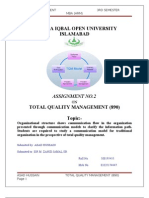 TQM 2nd Assignment