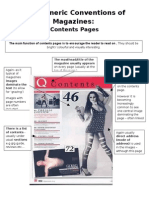 The Generic Conventions of Magazines- Contents