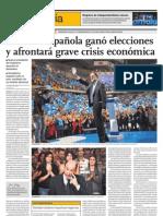 Derecha española ganó elecciones y afrontará grave crisis económica