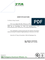 Certificate of employment samplecx philippine aluminum wheels certificate of employment yadclub Images
