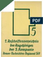 ANR 549 Anschriften 5 Kompanie 1940