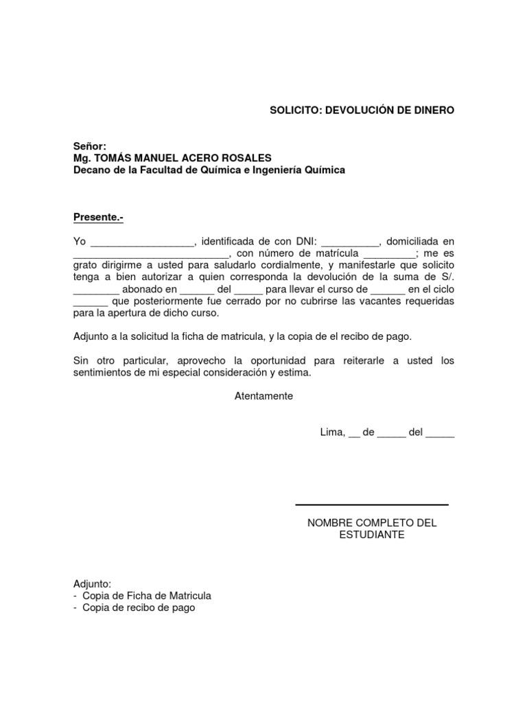 Solicitud devoluci n de dinero for Solicitud de chequera banco venezuela