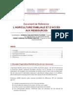 Document de Référence AGRICULTURE FAMILIALE ET ACCÈS AUX RESSOURCES (TERRE, EAU)