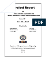 Project Report on Rich Internet Application for Automatic College Timetable Generation ( 24th March 2008)