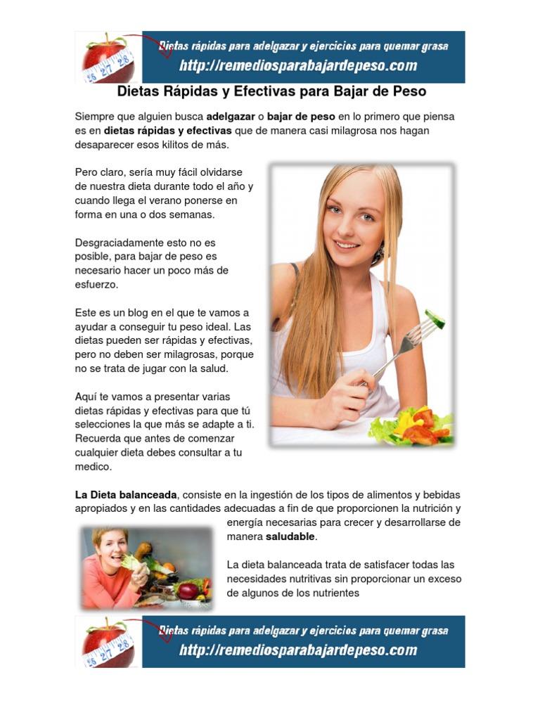 Dietas rapidas y efectivas