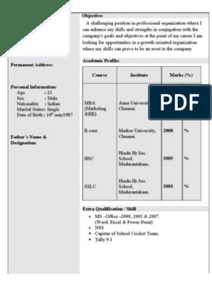 Resume For Mba Freshers Bcom Communication