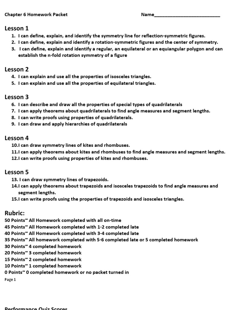 worksheet Properties Of Trapezoids chapter 6 hw packet rectangle elementary geometry