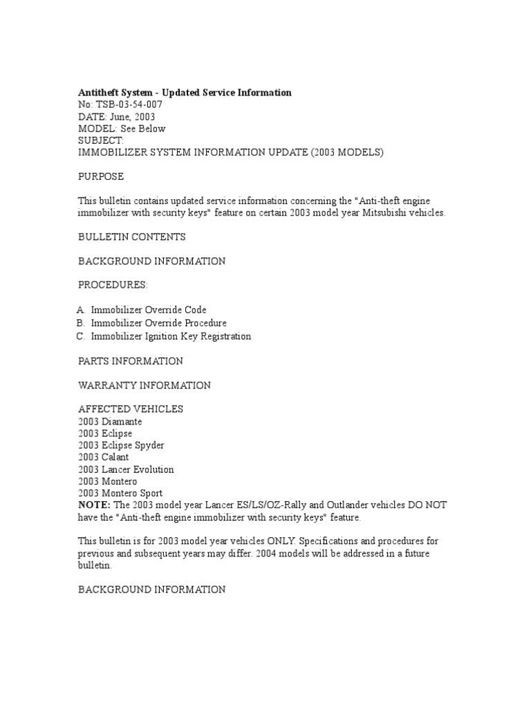 03-54-007 Antitheft System - Updated Service Information