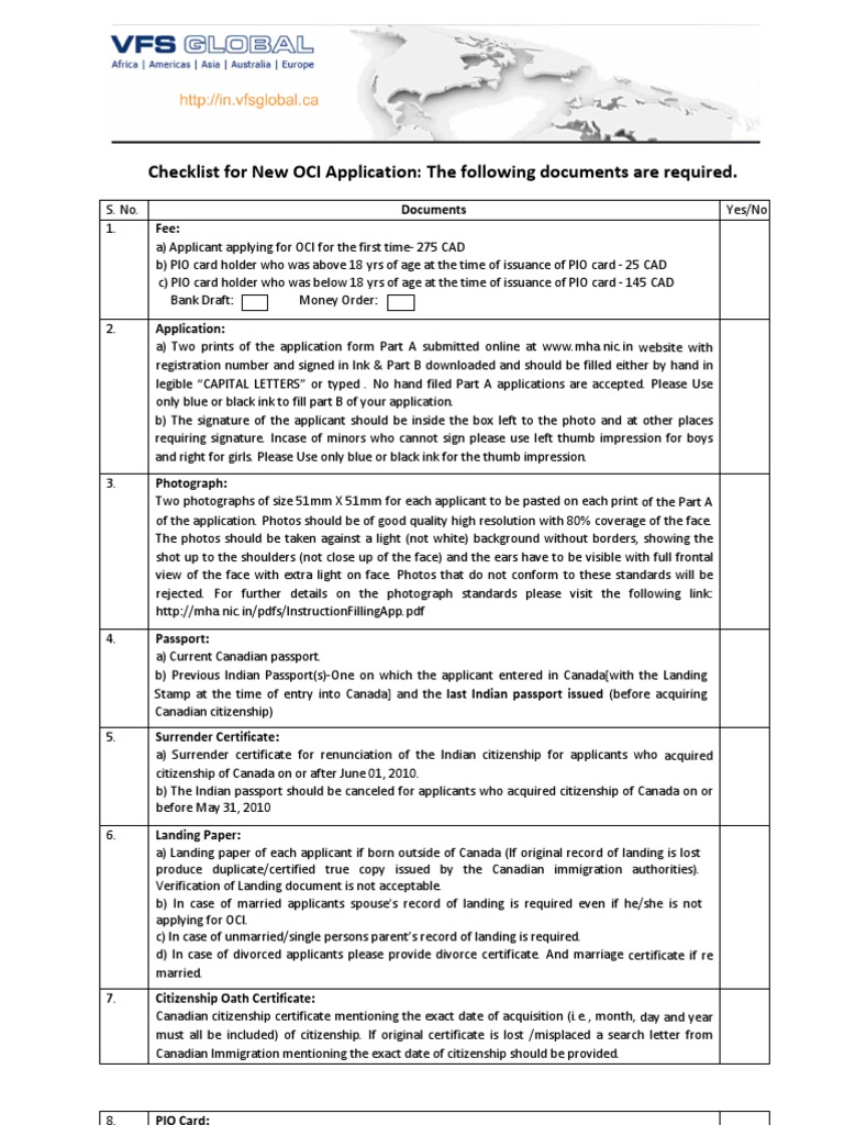 Checklist For New Oci Application Passport Government And Personhood