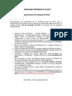 COMUNICADO PROGRAD Nı42-2011