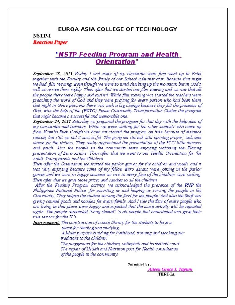 nstp narrative report feeding program