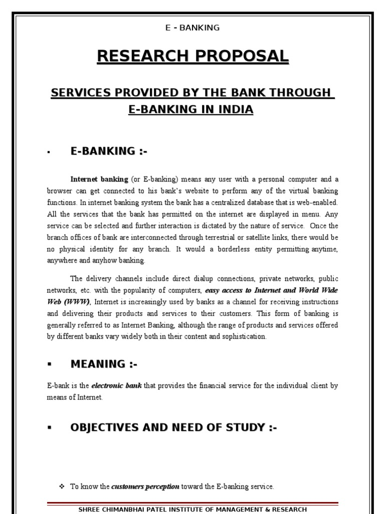 Dissertation proposal internet banking
