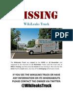 WikiLeaks Truck Missing Flier