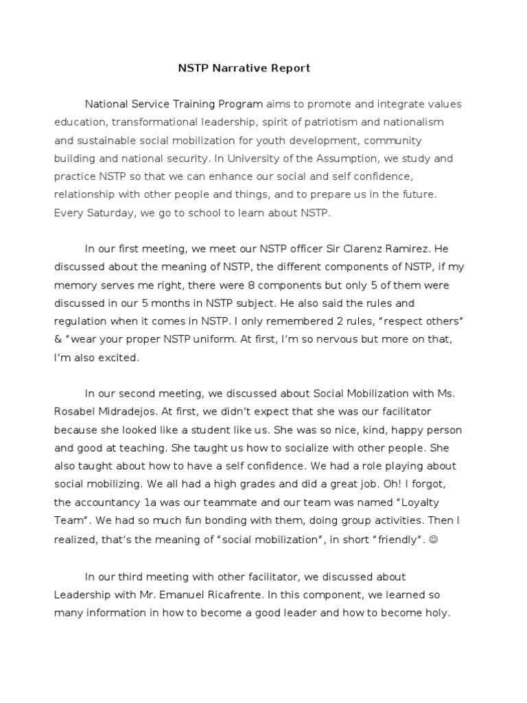 nstp or national service training program essay What is nstp essays and research papers  search nstp  cwts) was created through republic act 9163 or the national service training program (nstp) act of 2001 as.