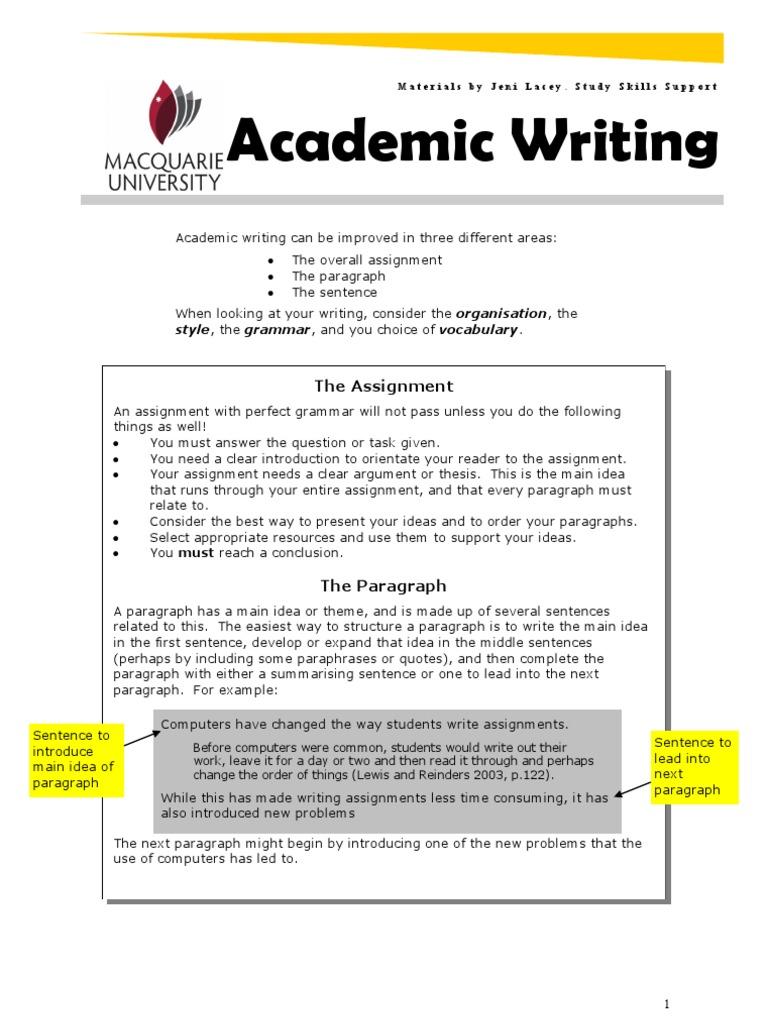 organisation in academic writing