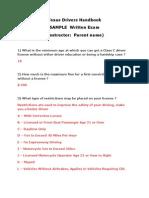 Texas Drivers Handbook Written Exam