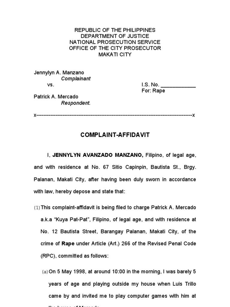 Exceptional RAPE (Complaint Affidavit) | Rape | Virtue  Affidavit Sample Format