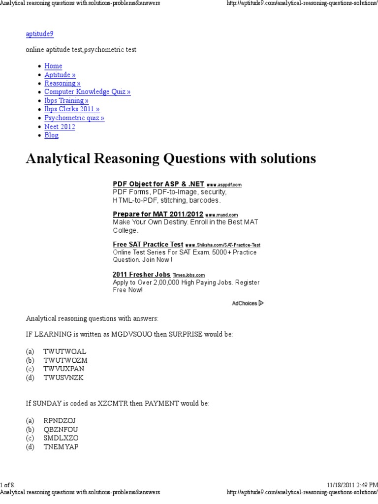 analytical reasoning questions solutions problems answers analytical reasoning questions solutions problems answers quiz test assessment