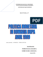 Proiect Politica Monetara in Romania Dupa 1989