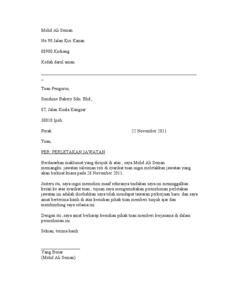 Surat Rasmi Perletakan Jawatan Persatuan - Xiaominismes