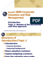 BANK 3009 CVRM Introduction and Topic 1 2011
