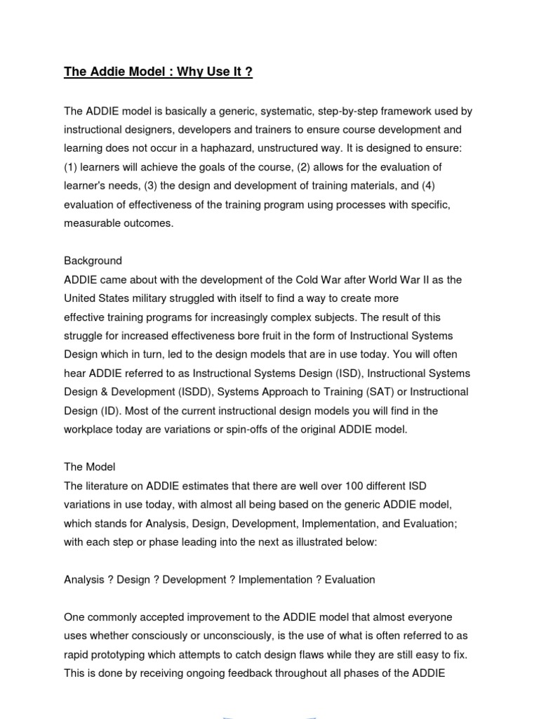 The Addie Model Article Review Instructional Design