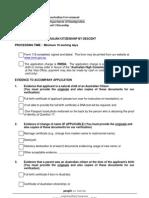 Checklist Citizenship by Descent
