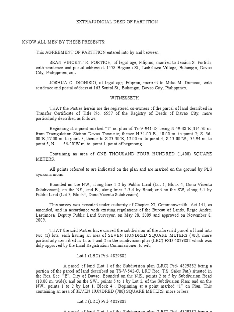 Extra Judicial Deed Of Partition Land Law