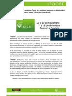 NACER Comunicado de Prensa en La Candela