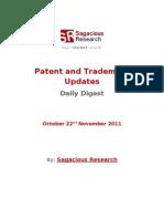 Sagacious Research - Patent & Trademark Updates – 22nd November, 2011