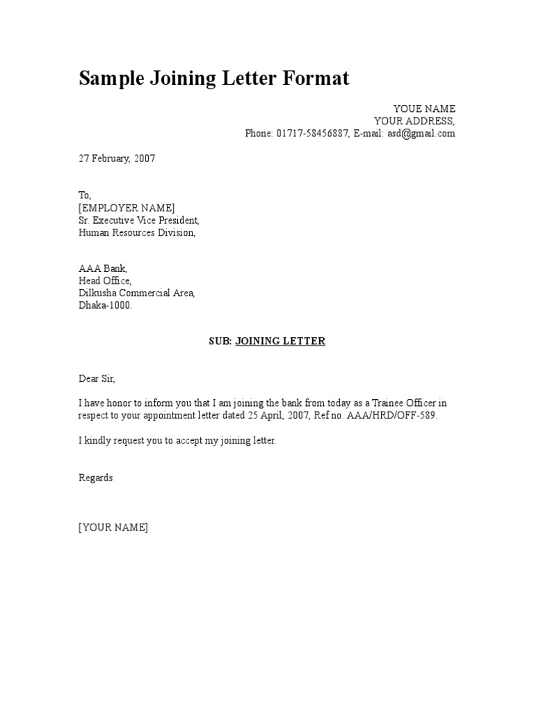 Appointment Letter Format For Internship