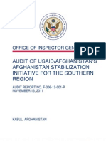USAID IG Report on Stabilization Initiative Southern Afghanistan