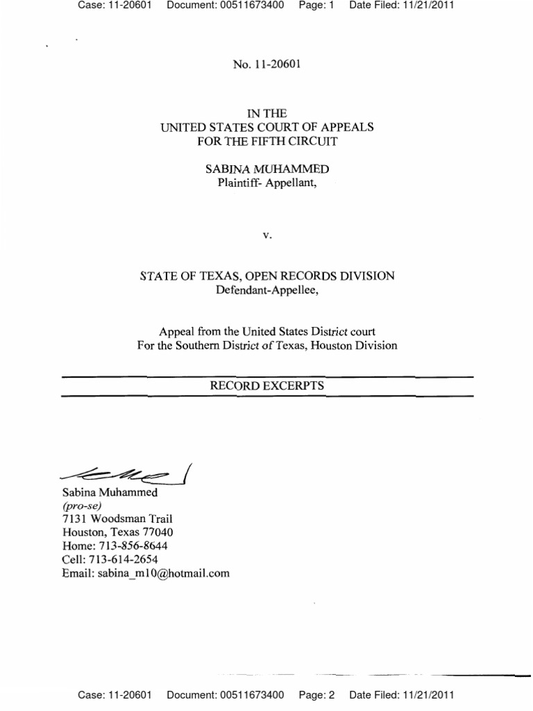 Sabina Muhammed vs  Open Records Division 5th Circuit State