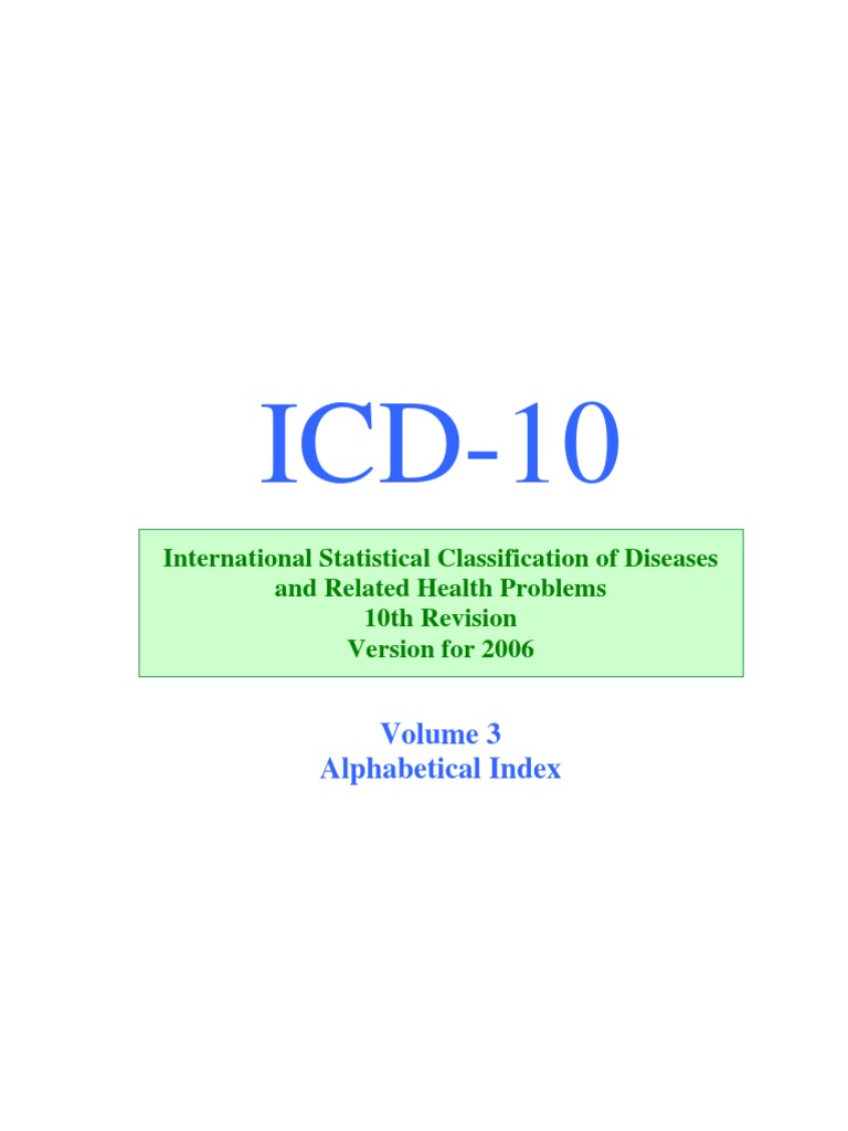 Icd 10 2006 Alphabetical Index Volume 3 Sepsis Miscarriage