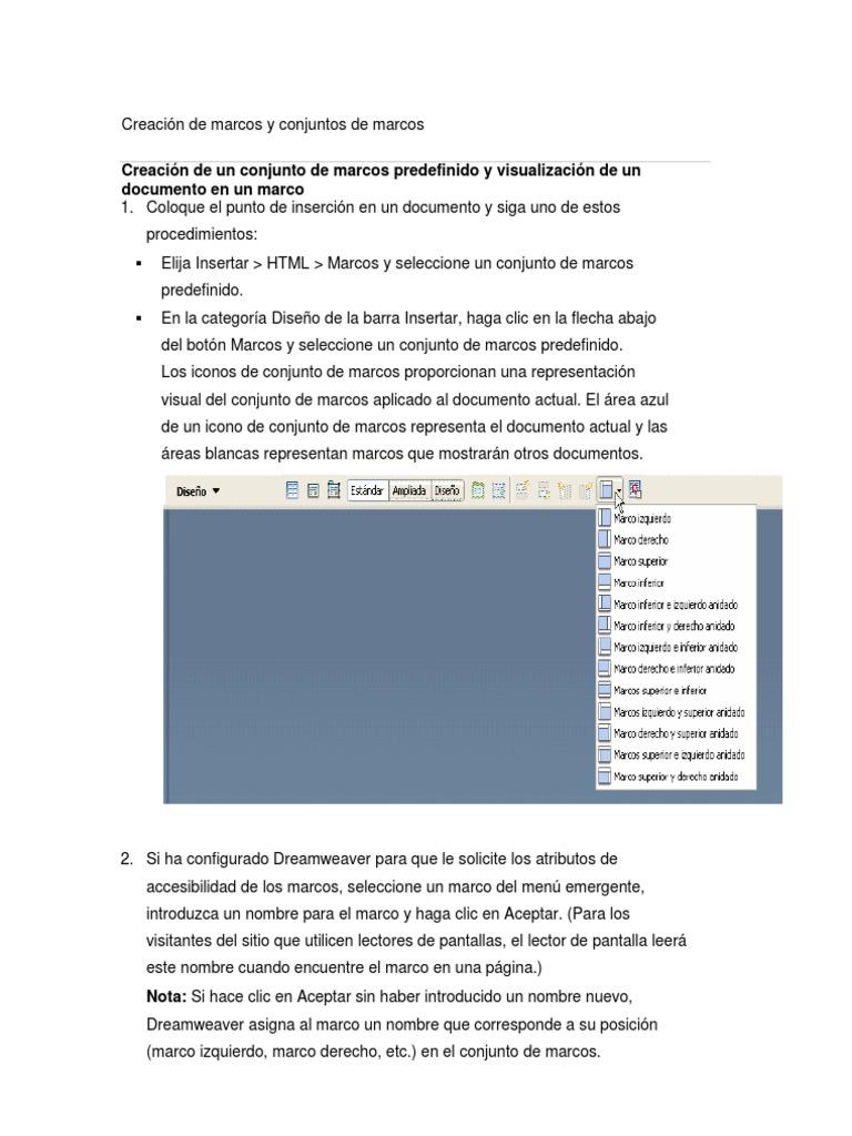 Creación de marcos y conjuntos de marcos