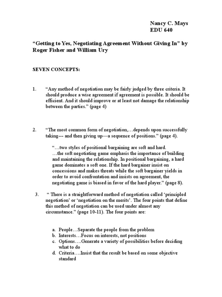 Roger Fisher And William Ury Seven Concepts From Getting T