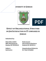Document] Effect of Organizational Structure on Job Satisfaction in IT Companies in Jordan