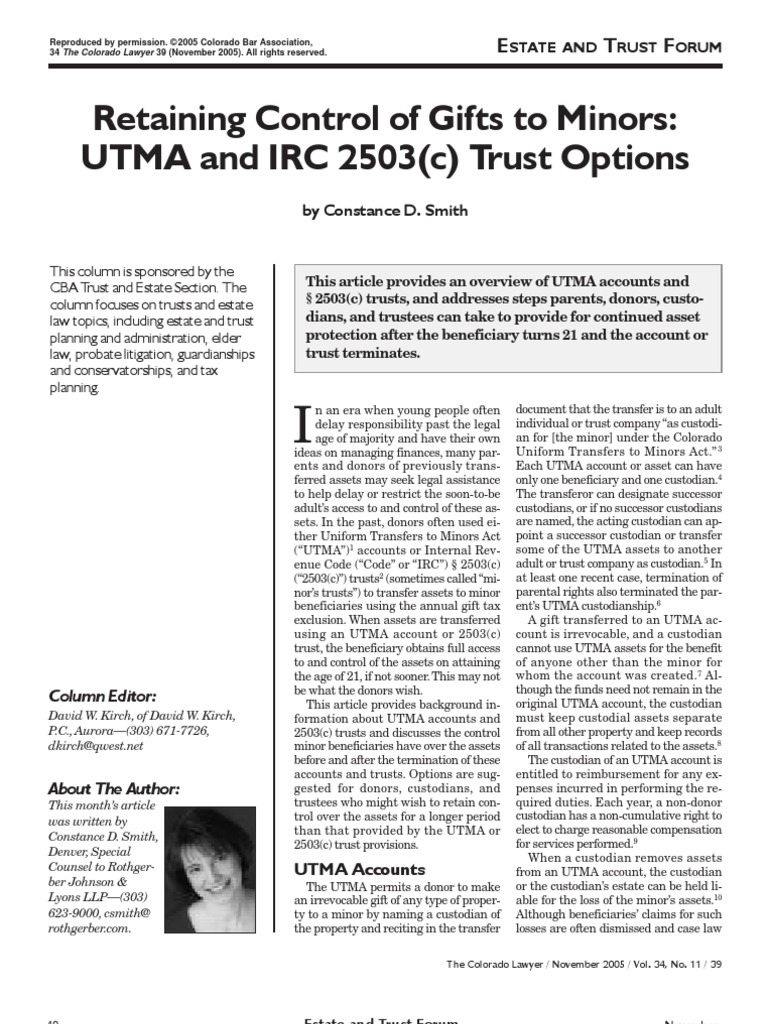 Retaining Control Of Gifts To Minors Individual Retirement Account Trust Law