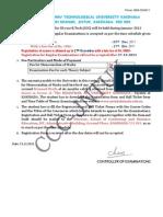 JNTUK Notification for III Year B.tech Reg Exam 23112011