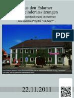 Aus den Eslarner Gemeinderatssitzungen v. 22.11.2011