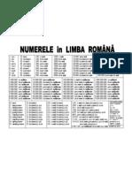 Numerele in Limba Romana