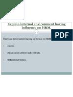 Explain Internal Environment Having Influence on HRM
