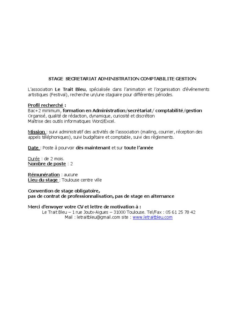 Stage Secretariat Administration Comptabilite Gestion