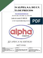 Catalogo Taquetes Alpha