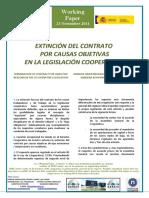 EXTINCIÓN DEL CONTRATO POR CAUSAS OBJETIVAS EN LA LEGISLACIÓN COOPERATIVA - TERMINATION OF CONTRACT FOR OBJECTIVE REASONS IN THE CO-OPERATIVE LEGISLATION (spanish) - ARRAZOI OBJEKTIBOENGATIKO KONTRATUAREN AMAIERA KOOPERATIBEN LEGERIAN (espainieraz)