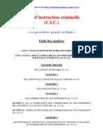 Le Code d'instruction criminelle haïtien (C.I.C.)